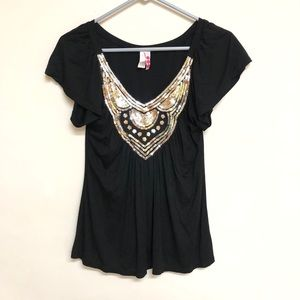 Black sequin flowy blouse top women's medium